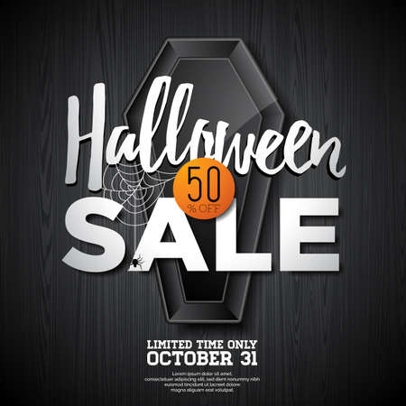 holiday shopping: Halloween Sale vector illustration with coffin and Holiday elements on orange background. Design for offer, coupon, banner, voucher or promotional poster