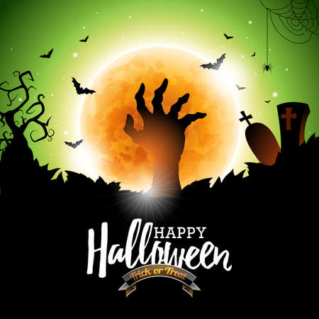 Happy Halloween vector illustration with bats, zombie hand and moon on green background. Holiday design for greting card, poster or party invitation. Illustration