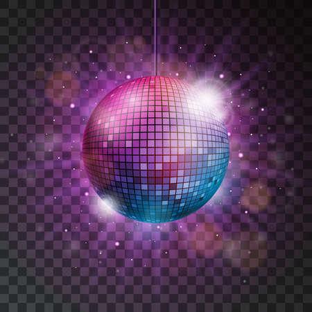 Vector shiny disco ball illustration on a transparent background. Çizim