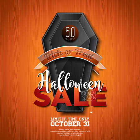 spider web: Halloween Sale vector illustration with coffin and Holiday elements on wood texture background. Design for offer, coupon, banner, voucher or promotional poster