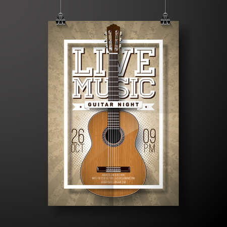 Live music design with acoustic guitar Vector illustration.
