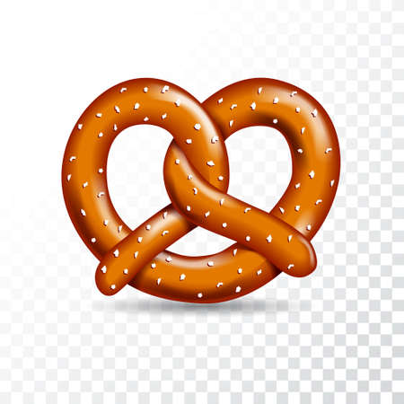 Realistic vector tasty pretzel illustration