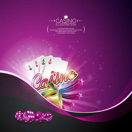 Vectorillustratie op een casinothema met pookkaarten en het gokken ontwerpelementen op donkere violette achtergrond.