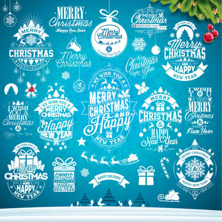Christmas decoration collection of calligraphic and typographic design. Illustration