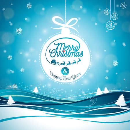 layout: Merry Christmas illustration with typography and ornament decoration on winter landscape background. Illustration