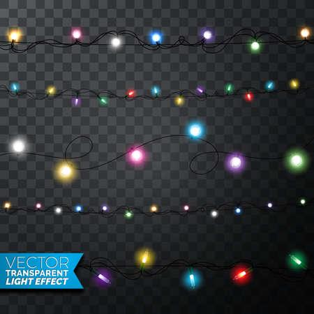 Świecące lampki choinkowe realistyczne elementy projektu na białym tle na przezroczystym tle. Świąteczne dekoracje girlandy na świąteczną kartkę z życzeniami