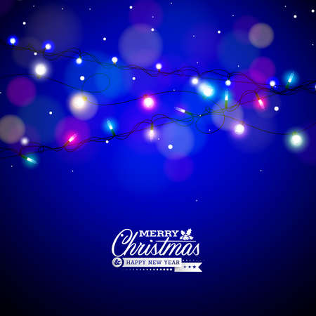 Glowing Colorful Christmas Lights for Xmas Holiday and Happy New Year Greeting Cards Design on Shiny Blue Background.