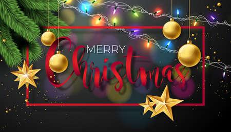 タイポグラフィと休日の要素を持つ黒の背景上のベクトルメリークリスマスのイラスト。星、松の枝、観賞用ボール。EPS 10 設計。