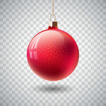 Isolated Red Christmas ball on transparent background.