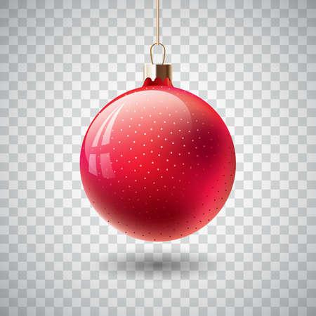 Odosobniona Czerwona Bożenarodzeniowa piłka na przejrzystym tle.
