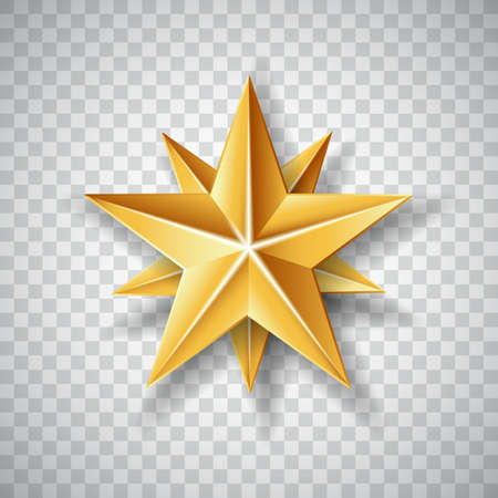 Isolated Gold paper Christmas Star on transparent background.