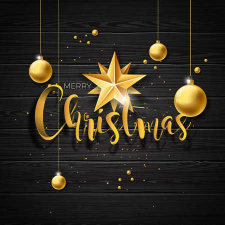 Vector Christmas illustration with typography and gold glass balls on vintage wood background. Vector holiday illustration Illustration