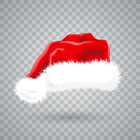 Christmas illustration with red Santa hat on transparent background. Vettoriali