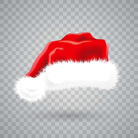 Illustrazione di Natale con cappello rosso Santa su sfondo trasparente. Vettoriali