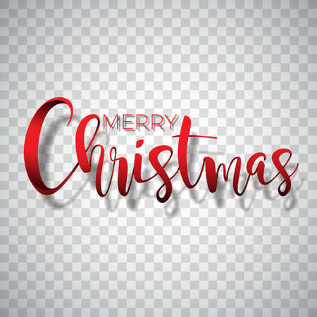 Merry Christmas Typography illustration on a transparent background. Vector icon, emblems, text design for greeting cards, banner, gifts, poster Illustration