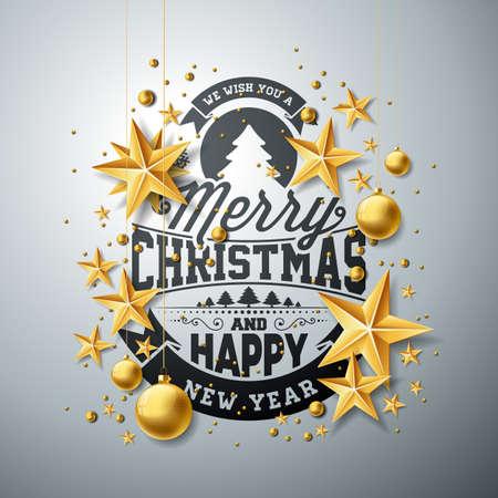 きれいな背景にタイポグラフィとカットアウトの用紙の星とクリスマスとお正月のイラスト。ホリデー グリーティング カード、ポスター、バナー