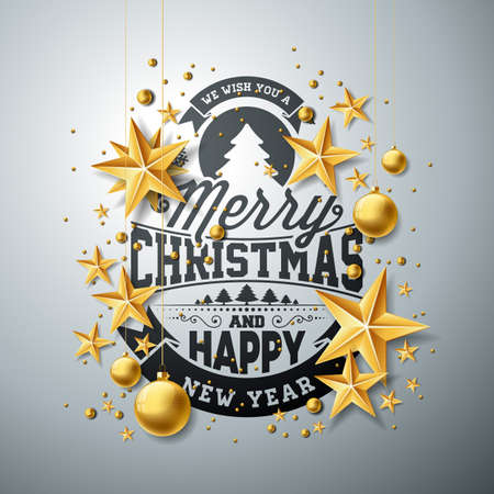 Christmas and New Year illustration with typography and cutout paper stars on clean background. Holiday design for greeting card, poster, banner Фото со стока - 87844941