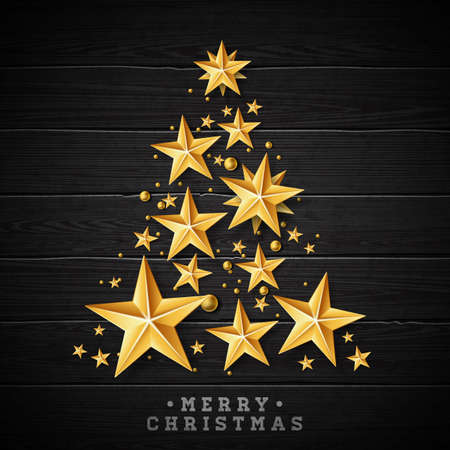 Vector Christmas and New Year illustration with Christmas Tree made of cutout paper stars on vintage wood background. Holiday design for greeting card, poster, banner