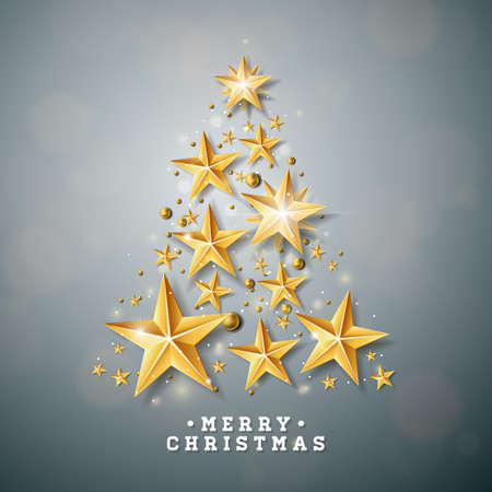 Vector Christmas and New Year illustration with Christmas Tree made of cutout paper stars on clean background. Holiday design for greeting card, poster, banner 일러스트