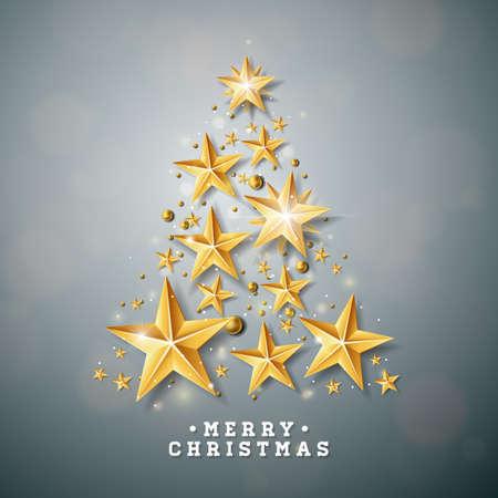 Vector la ilustración de la Navidad y del Año Nuevo con el árbol de navidad hecho de estrellas del papel del recorte en fondo limpio. Diseño de vacaciones para tarjetas de felicitación, carteles, pancartas