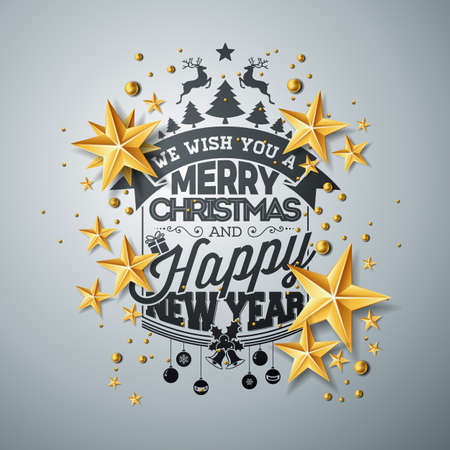 Christmas and New Year illustration with typography and cutout paper stars on clean background. Holiday design for greeting card, poster, banner