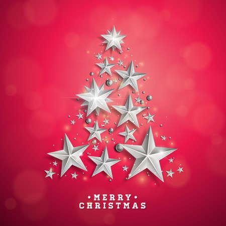 クリスマス ツリーとクリスマスとお正月のイラストは赤の背景に切り抜きの用紙の星から成っています。ホリデー グリーティング カード、ポスタ  イラスト・ベクター素材