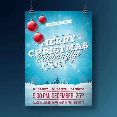 Winterlandschaft Einladung Poster Vorlage