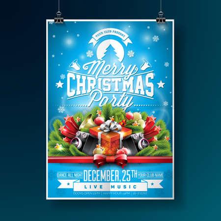 Ilustración de la fiesta de la feliz navidad con elementos de tipografía y vacaciones sobre fondo azul. plantilla de invitación del cartel Foto de archivo - 87903907