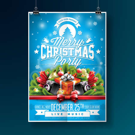 Merry Christmas Party Illustration with Typography and Holiday Elements on Blue background. Invitation Poster Template