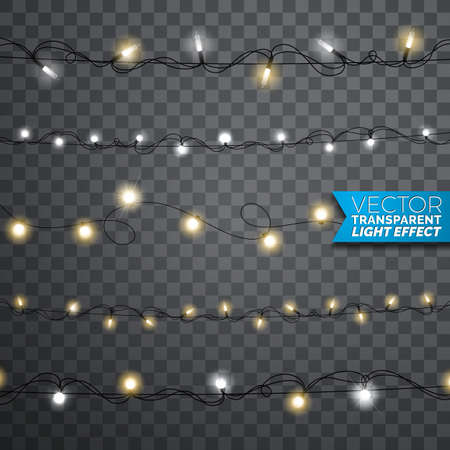 Glühende realistische lokalisierte Gestaltungselemente der Weihnachtslichter auf transparentem Hintergrund. Weihnachtsgirlandendekorationen für Feiertagsgrußkarte.