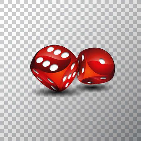 Illustration vectorielle sur un thème de casino avec des dés rouges sur fond transparent Vecteurs