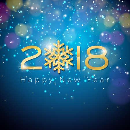Frohes neues Jahr 2018 Illustration auf glänzenden Beleuchtung blau Standard-Bild - 88213187