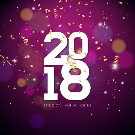 Happy New Year 2018 Illustration on Shiny purple.