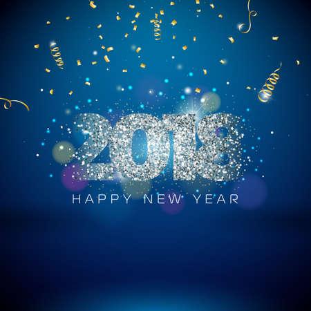 Vector Illustration des guten Rutsch ins Neue Jahr-2018 auf glänzendem Beleuchtungs-Hintergrund mit Typografie-Design Standard-Bild - 88233137