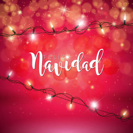 Vector Christmas Illustration with Spanish Feliz Navidad Typography and Holiday Light Garland.
