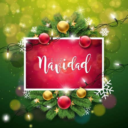 Vector Christmas Illustration with Spanish Feliz Navidad Typography.