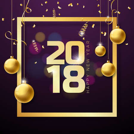 A vector Happy New Year 2018 illustration on Shiny lighting background with typography design.