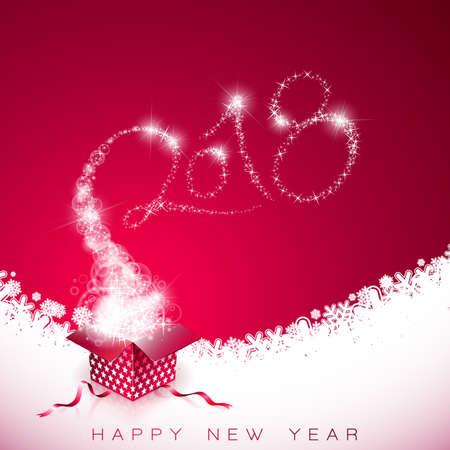 赤の背景にギフト ボックスとタイポグラフィのデザインのベクトル新年あけましておめでとうございます 2018 図