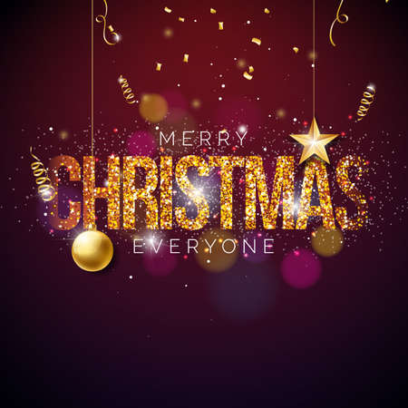 Merry Christmas Creative Design for Greeting Card or Poster