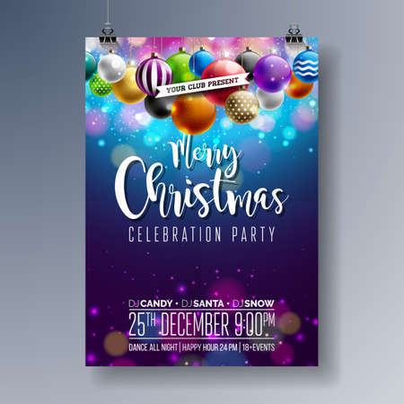 Vector Merry Christmas party design with holiday typography elements and multi-color ornamental balls on shiny background. Illustration