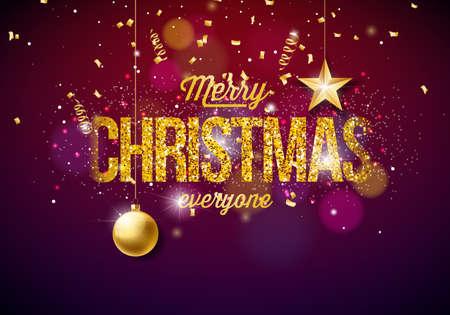 Ilustracja Wesołych Świąt na błyszczące jasne tło z elementami typografii i wakacje. Papierowe gwiazdy wycinanki, konfetti, serpentyn i ozdobne piłki.