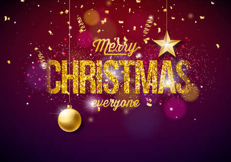 Merry Christmas Illustration on Shiny Bright background with Typography and Holiday Elements. Cutout Paper Stars, Confetti, Serpentine and Ornamental Ball. Çizim
