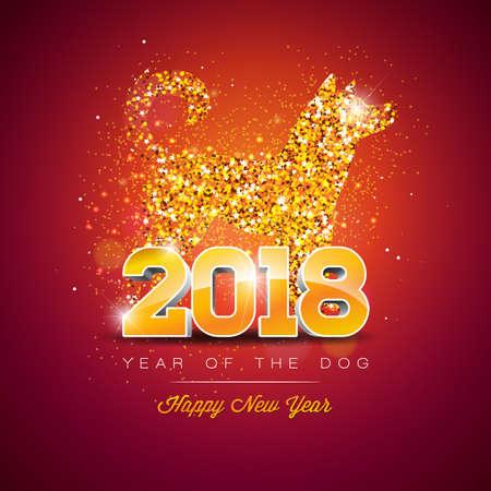 2018 Capodanno cinese illustrazione con il simbolo luminoso del disegno del cane. Archivio Fotografico - 88492548