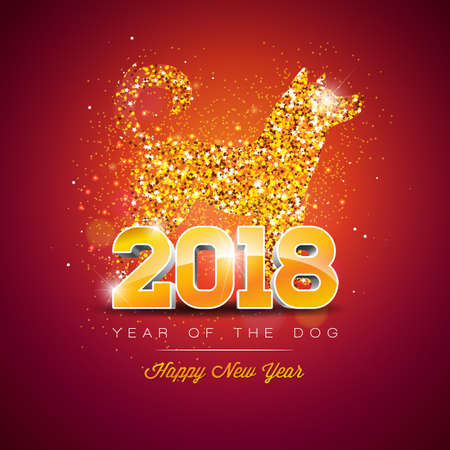 2018 Chinese New Year Illustration with Bright Symbol of the Dog Design.