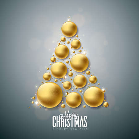 Merry Christmas and Happy New Year illustration with gold ornamental glass balls.