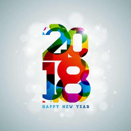 Happy New Year 2018 on shiny illustration.