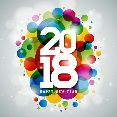 Happy New Year 2018 shiny illustration.