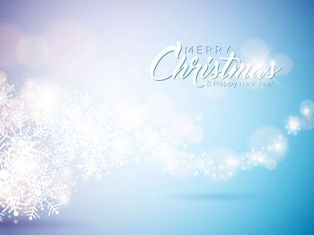 Merry Christmas and Happy New Year Illustration on With Typography on Snowflakes Background. Vector EPS 10 design.