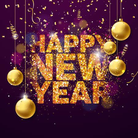 Vector el ejemplo de la Feliz Año Nuevo 2018 con diseño brillado de oro brillante de la tipografía y bolas ornamentales en fondo del confeti. EPS 10.