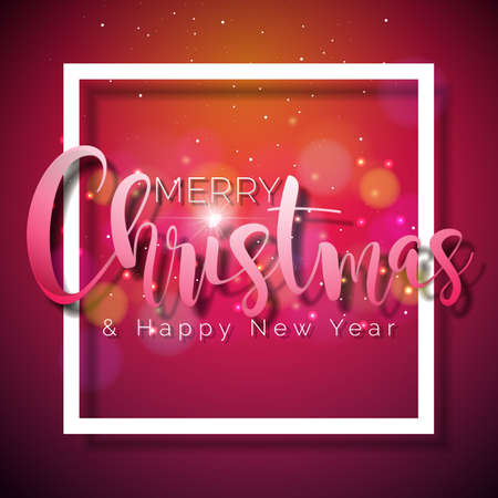 Merry Christmas and Happy New Year Illustration on Shiny Red Background with Typography and Holiday Elements, Vector.